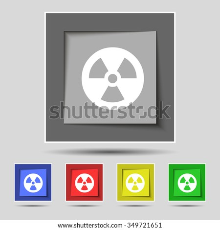 radiation icon sign on original five colored buttons. illustration - stock photo