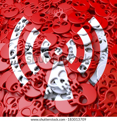 Radiation: Pool, array, heap of red cartoon skulls with white overlay graphic forming a warning sign, symbol, 3d rendering, background - stock photo