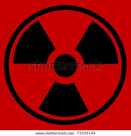 Radiation round sign on red background - stock photo