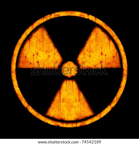 Radiation ����� round sign with blots and stains on black background - stock photo