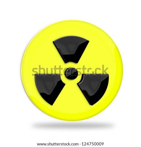 Radiation sign over white background - stock photo