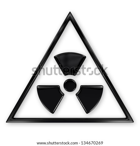 Radiation symbol in triangle isolated on white - stock photo