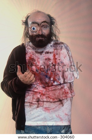 Radiation victim costume. - stock photo