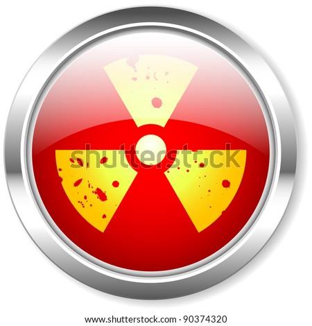 radiation warning light, isolated on white background - stock photo