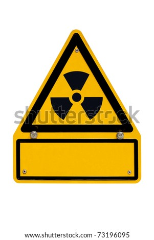 Radiation warning sign isolated on white with blank copyspace for your message. - stock photo