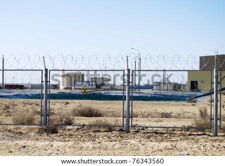 radiation zone of uranium plant - stock photo