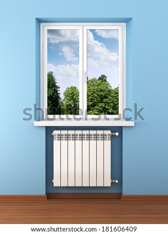 Radiator and nature in home interior - stock photo