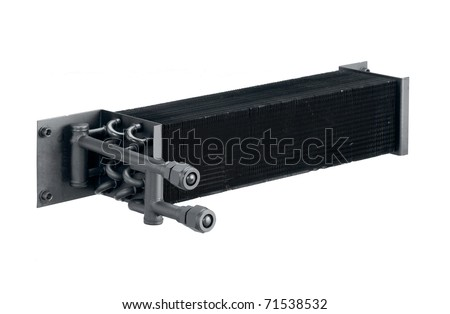 Radiator cooling air condition systems in the automobile, the image isolated on white - stock photo