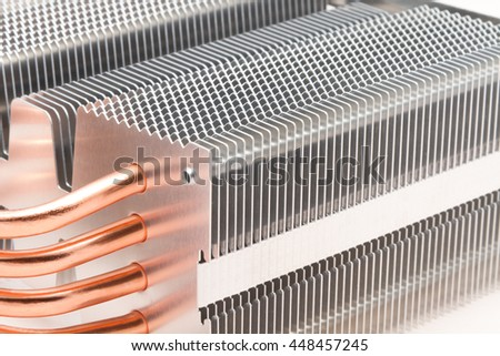 Radiator cooling system for a powerful professional processor - stock photo