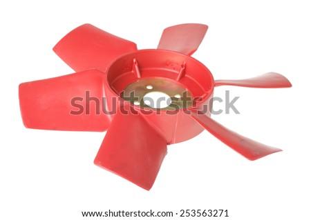 Radiator fan isolated on white - stock photo