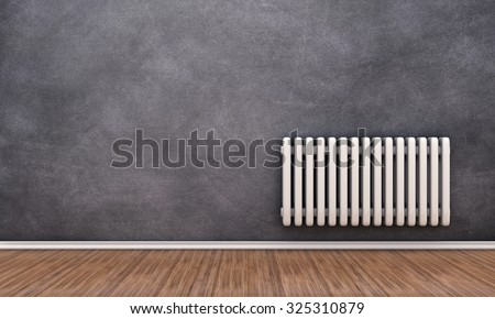 Radiator illustration on a wall in an empty room - stock photo
