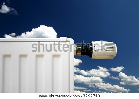 Radiator with thermostat set optimal on a cloudy sky