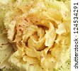 Radicchio di Castelfranco with typical  yellow leaf with red speckles, variety of italian chicory - stock photo