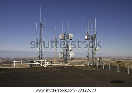 Radio and Microwave towers on top of Steppe Butte in Washington 3100 feet above sea level. - stock photo