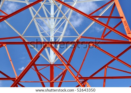 radio antenna tower structure against blue sky- horizontal - stock photo