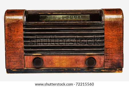 radio antique by wood isolated in white background - stock photo