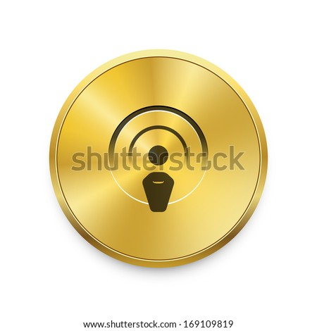 Radio broadcasting vector icon on gold button. Raster version. - stock photo