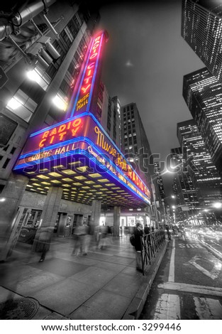 radio city hall - manhattan - new york - stock photo