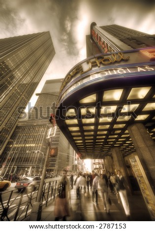 radio city hall - manhattan - new york - sepia - stock photo