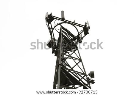 Radio/Communication Tower taken in Black & White - stock photo