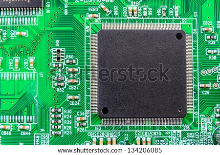 Radio components on a printed circuit board. Photo Close-up - stock photo