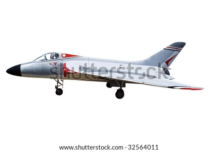 Radio Controlled Model of a Marine Jet isolated with clipping path. - stock photo