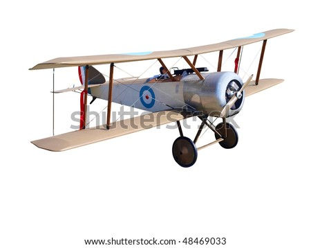 Radio Controlled  WWI Model Biplane isolated with clipping path - stock photo