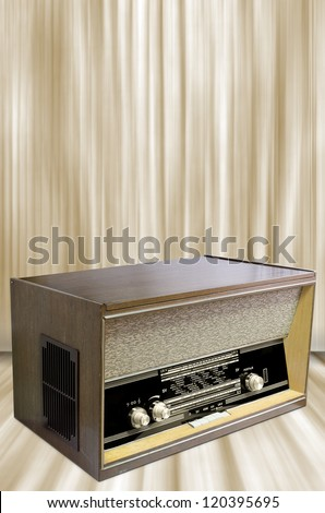 Radio from sixties with vintage background.