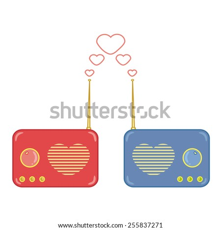 Radio on Beautiful  Background with Copy Space for Text Decorated. - stock photo