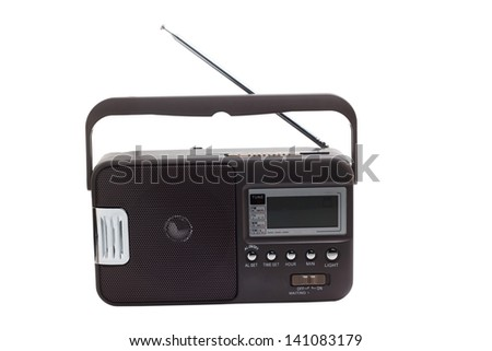 radio portable transistor old tuner fm set isolated fashioned - stock photo