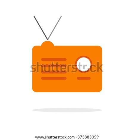 Radio receiver icon, orange radio station simple flat illustration with shadow and antenna, broadcast logo idea, modern design isolated on white image - stock photo