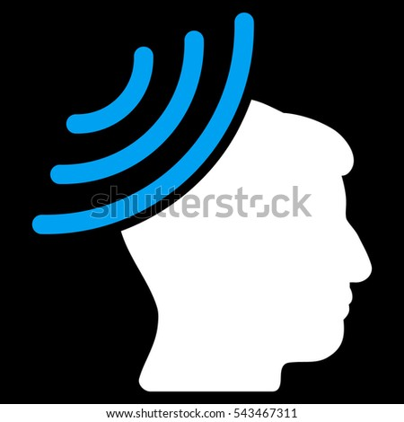 Radio Reception Mind glyph pictograph. Style is flat graphic bicolor symbol, blue and white colors, black background.
