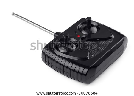 Radio remote control for toy car isolated on  white - stock photo