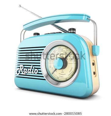 Radio retro portable receiver blue recorder vintage object isolated - stock photo