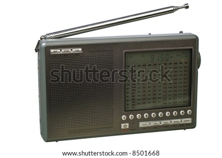Radio side view. Isolated image on white background.