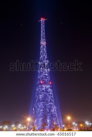 Radio-station in night - stock photo