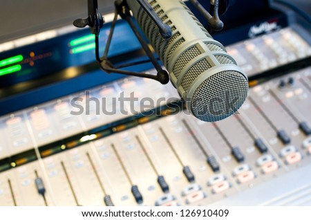 Radio Station Microphone and Mixer - stock photo