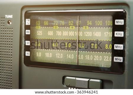 Radio station scale - tuning control panel - stock photo