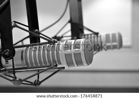 radio studio microphone - stock photo