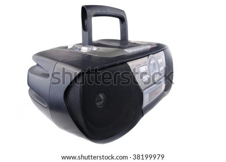 Radio tape recorder of black colour on a white background - stock photo