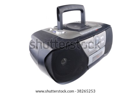 Radio tape recorder of black colour on a white background - stock photo