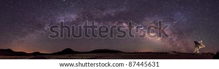 Radio Telescope and Milky Way - stock photo