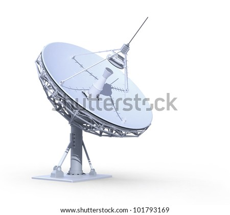 radio telescope isolated on white background, 3d render, work path included - stock photo