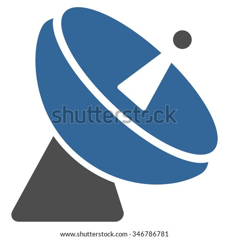 Radio Telescope raster icon. Style is flat bicolor cobalt and gray symbol, rounded angles, white background. - stock photo