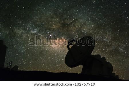 Radio telescopes observe the Milky Way. - stock photo