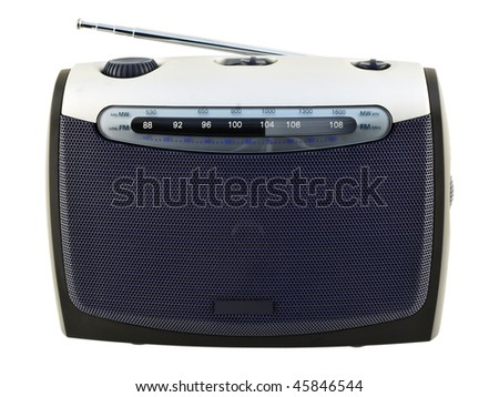 Radio the receiver with an analogue scale Modern compact radio device with an analogue scale of adjustment. Isolated on white. Mass production. - stock photo
