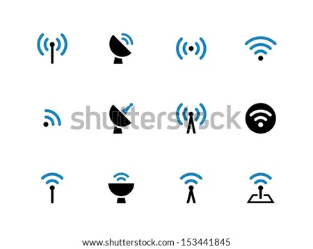 Radio Tower duotone icons on white background. Wireless technology. See also vector version. - stock photo