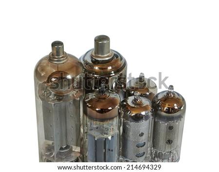radio tubes isolated on white background - stock photo