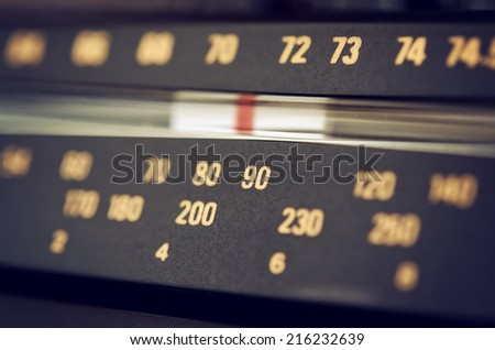 Radio tuner dial scale closeup - stock photo