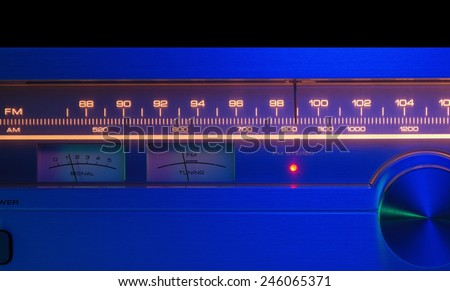 Radio tuner vintage stereo, analog dial FM/AM close up. Color filters. - stock photo